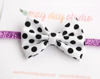 newborn baby toddler girls fabric bow headband - black and white polka dot fabric bow on purple glitter elastic headband