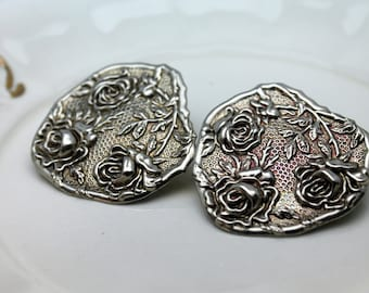 Vintage 1980's Stamped Raise Flower Silver Earrings Post Style