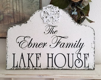CUSTOM SIGN | PERSONALIZED Signs | Shabby Cottage Signs | Lake House Signs | Vintage Style Signs | 17 x 12