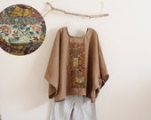 over size ginger linen top with vintage kimono panel pottery scene ready to wear