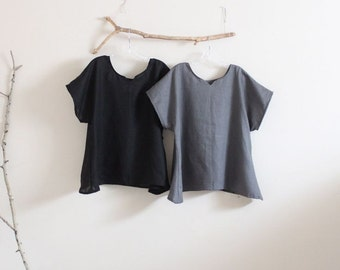 arty neckline linen top size XS to 6XL made to order
