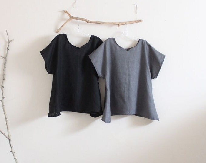 arty neckline linen top size XS to 6XL /  made to order linen top / black linen top / plus size linen top / linen women clothing  / shirt