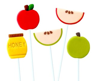 Green and Red Apples & Honey Rosh Hashanah Marzipan Lollipops Marzipops™!  Delicious Holiday Gift and Treat!