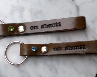 Personalized Leather Keychain with text on both sides - 5/8 inch wide strap