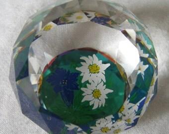 Small VINTAGE Swarovski Crystal Flower Paperweight