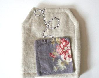 Tea Bag Wallet in Tea Bag Shape Linen Roses Print Womens Gift Ideas