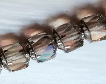 Twenty Czech Fire Polished Cathedral Pressed Smoke Glass and Silver Beads