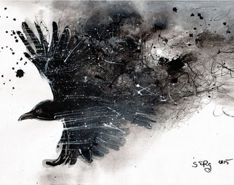 Raven Art - Ink drawing on canvas A4 - Abstract raven flight