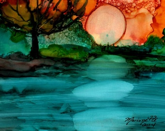 Moonrise Art - Alcohol Inks Print - 5 x 7 art print - Landscape with Tree Art - Big Orange Red Moon - Interior Decor - Night Landscape