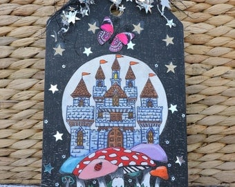 Oak Magical Fairy Castle Wood Burned Extra large wood tag