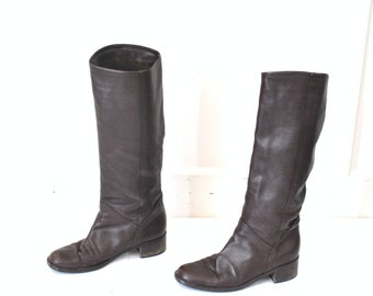 TALL brown leather boots vintage 80s 90s MINIMALIST boho knee high RIDING boots equestrian fall winter boots size 7