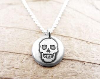 Tiny skull necklace, silver skull jewelry, human skull, realistic skull, halloween, spooky jewelry, skull pendant