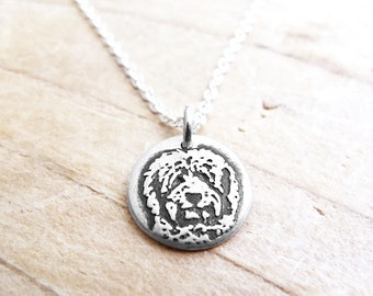 Tiny Goldendoodle necklace, Golden doodle necklace, Labradoodle necklace, silver dog jewelry, dog memorial necklace