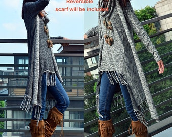 Dream - fringed cotton tunic dress and cotton scarf set / asymmetrical tunic dress / idea2lifestyle boho tunic dress / heather grey (Q1531)
