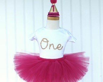 Hot Pink First Birthday Outfit Girl, Cake Smash Outfit Girl, 1st Birthday Outfit Girl, Tutu Skirt, Tulle Skirt, SEWN Tutu, Smash Cake Outfit