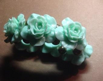 Cabbage Roses Molded Beaded Bracelet Stretch Turquoise Plastic Vintage