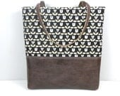 Tote Bag / Floral Print / Leather Bottom / Metallic Gold Tote