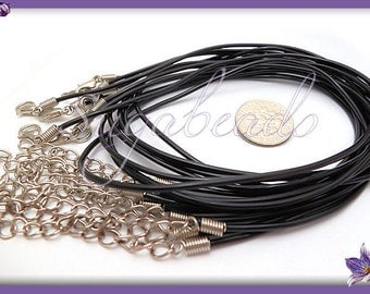 10 Finished Black Rubber Necklace Cords 18 inch - Rubber Necklaces RC2