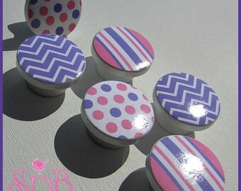 Drawer Knobs - Dresser Knobs - Lavender and Pink  - Drawer Pulls - Chevron - Stripes - Polka Dots - Kids Knobs