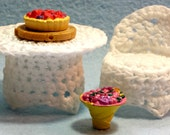 """Miniature Doll House Crochet """"Wicker"""" look Table and Chair Pattern"""