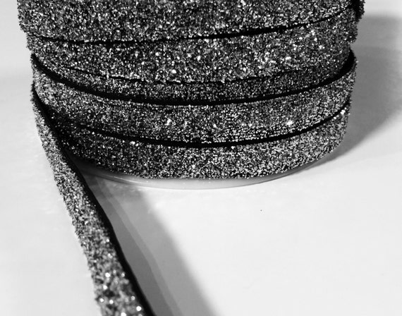 3/8 Glitter Stretch Velvet Elastic 5 YARDS - NO FLAKE - Sparkle Black