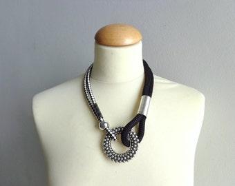 Black white statement necklace
