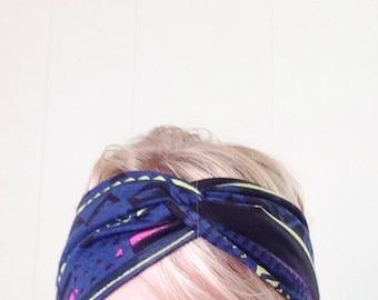 TopTwist Headband - Turban Headband - Soft Stretch Fabric - Tribal Headband - Hairband - Headwrap - Twisted Headband - Blue - Neon
