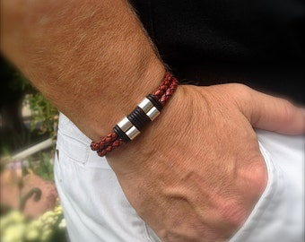 Brown Braided Leather Bracelet for Him with Silver & Black Accents