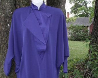 Daymor Couture S M Evening Formal Purple Dress w Batwings Designer Vintage 80s 6