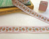 Vintage French Pastel Pink Ribbon with Orange and Green Flowers