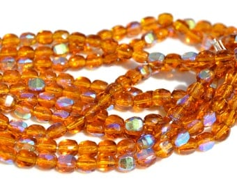 Dark Amber AB 6mm Cushion Coin Faceted Fire Polish Round Czech Glass Beads 25
