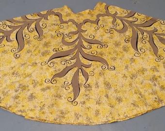 Baroque Scroll Artwork 1950s Ballerina Circle Skirt - A yellow and black symphony
