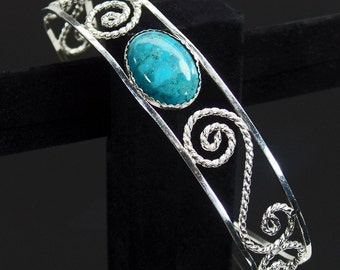 Sterling silver filigree cuff bracelet with turquoise stone ,statement, gift