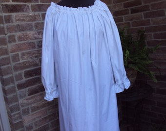 White Chemise gown with tan thread stripe, renaissance gown, Medieval gown, Halloween costume