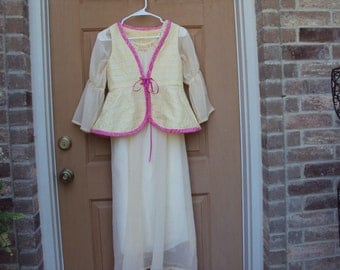 Girls renaissance dress with peplum vest, yellow gold color with pink trim, OOAK