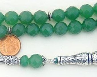 Luxury Prayer Beads Tesbih Komboloi Large Faceted Emeralds and Sterling Silver - Top Quality - Collector's