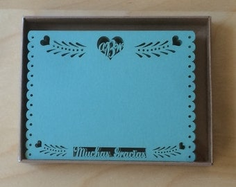 Thank you flat cards - Papel Picado Inspired Wedding 5x7 card Rehearsal Engagement Bridal Shower
