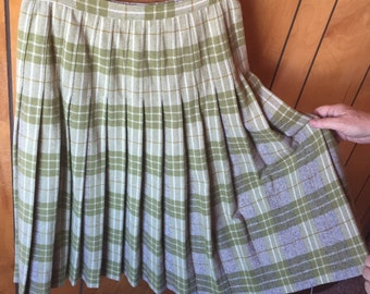 VINTAGE PLEATED SKIRT, pretty plaid, 1960's era, wool classic, olive, tan