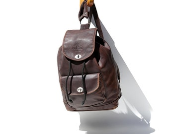 Piano Brown Leather Backpack