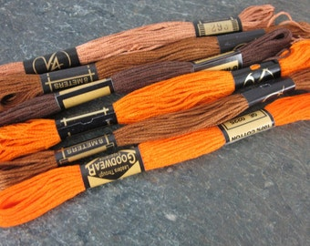 6 Skeins Pumpkin Orange Brown Earth All Cotton Embroidery Thread Floss Mix