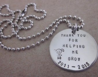 """Thank You For Helping Me Grow Girl or boy 18"""" Ball and chain necklace handstamped onto circle Teacher, Nanny, Day Care, Baby Sitter Gift"""