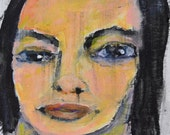 Acrylic Portrait Painting. Middle Aged Woman Art. 4x4 Mini Painting. Original Pocket Art. Wistful Emotional Wall Hanging. Ready to Ship