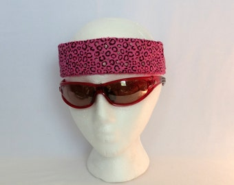 Adjustable Sweatband / Headband - Pink & Gold Animal Print