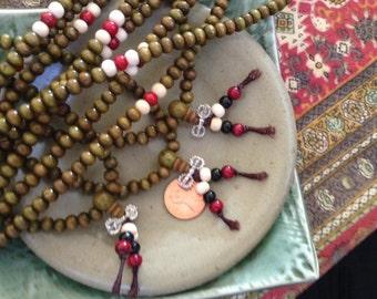 Khaki Green Sandalwood Mala - 108 beads