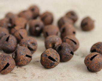 12mm Rusty Bells - Primitive Christmas Jingle Bell Trim - DIY Holiday Craft Supplies - 25 Tiny Rusted Jingle Bells - Prim Supplies