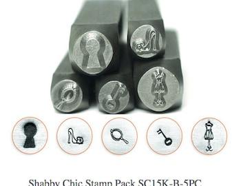 Shabby Chic Design Stamp Pack - 5 pc., SC15K-B-5PC, Key, High Heel, Brush, Key Hole, Dress Form Stamps, Carbon Steel Stamp, ImpressArt Stamp