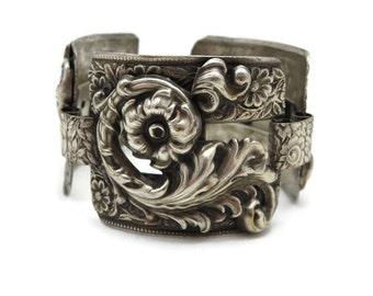 Silver Repousse Bracelet - Wide, Art Nouveau, Costume Jewelry