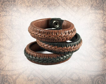 Braided Leather Cuff, Leather Cuff, Leather Wristband, Brown Leather Cuff, Braided Bracelet - Brandy- Custom to You (1 cuff only)