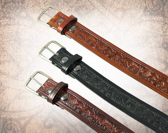 Woodland Belt - Black, Russet, or Amber - Leather Belt, Brown Leather Belt, Mens Leather Belt, Women's Leather Belt (1 Belt Only)