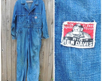 Vintage BEN DAVIS Denim Coveralls // Rare Vtg 60s Workwear Sanforized Distressed Indigo Denim Boiler Suit